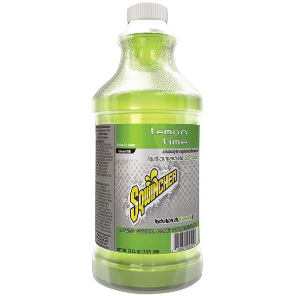 Sqwincher® Regular Liquid Concentrate, 32 oz Bottles, 2.5 gal Yield, Lemon-Lime