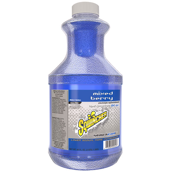 Sqwincher® Regular Liquid Concentrate, 64 oz Bottles, 5 gal Yield, Mixed Berry