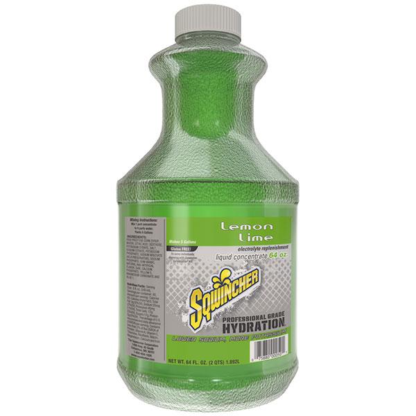 Sqwincher® Regular Liquid Concentrate, 64 oz Bottles, 5 gal Yield, Lemon-Lime