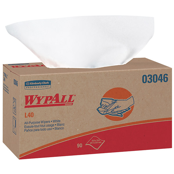 """WypAll* L40 Wipers, Pop-Up Box, 10 13/16"""" x 10"""", 9 Boxes/90 ea"""
