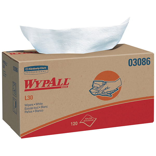 """WypAll* L30 Wipers, Pop-Up Box, 10"""" x 9 13/16"""", 10 Boxes/120 ea"""