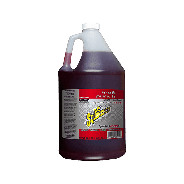 Sqwincher® Regular Liquid Concentrate, 128 oz Jugs, 6 gal Yield, Fruit Punch