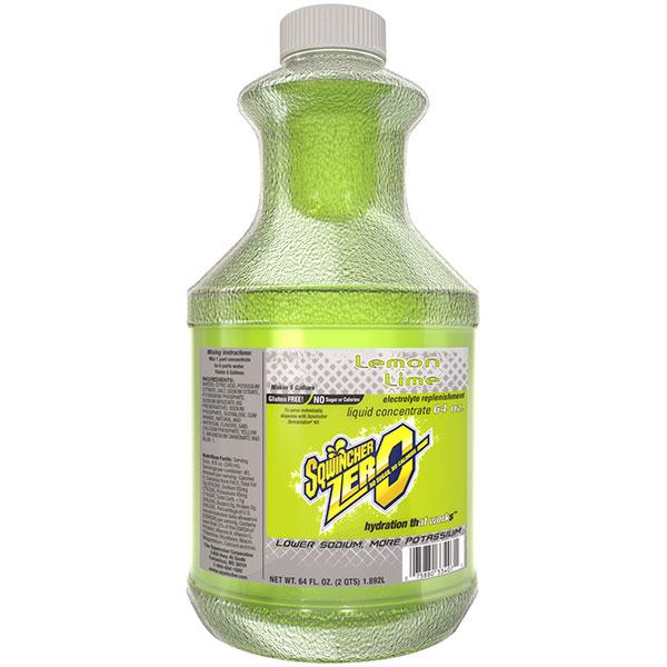 Sqwincher® Zero Liquid Concentrate, 64 oz Bottles, 5 gal Yield, Lemon-Lime