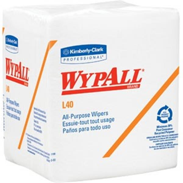 "WypAll* L40 Wipers, 1/4-Fold, 12 1/2"" x 12"", 18 Packs/56 ea"