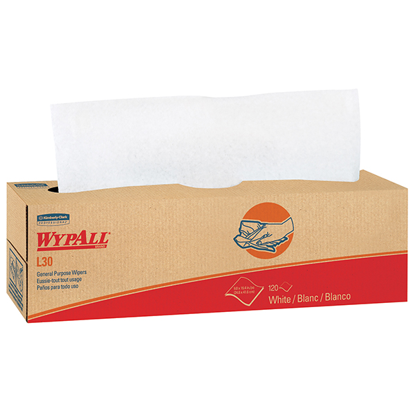 "WypAll* L30 Wipers, Pop-Up Box, 16 3/8"" x 9 13/16"", 8 Boxes/100 ea"
