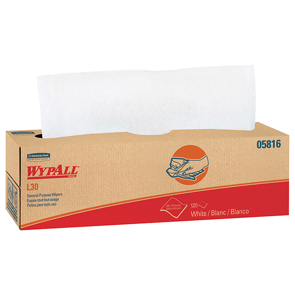 """WypAll* L30 Wipers, Pop-Up Box, 16 3/8"""" x 9 13/16"""", 6 Boxes/120 ea"""
