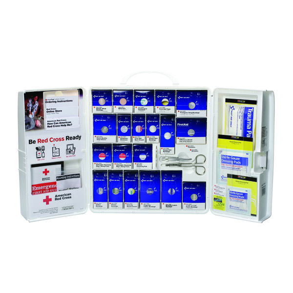 50-Person SmartCompliance Red Cross Standard Business First Aid Kit w/o Medications, Plastic