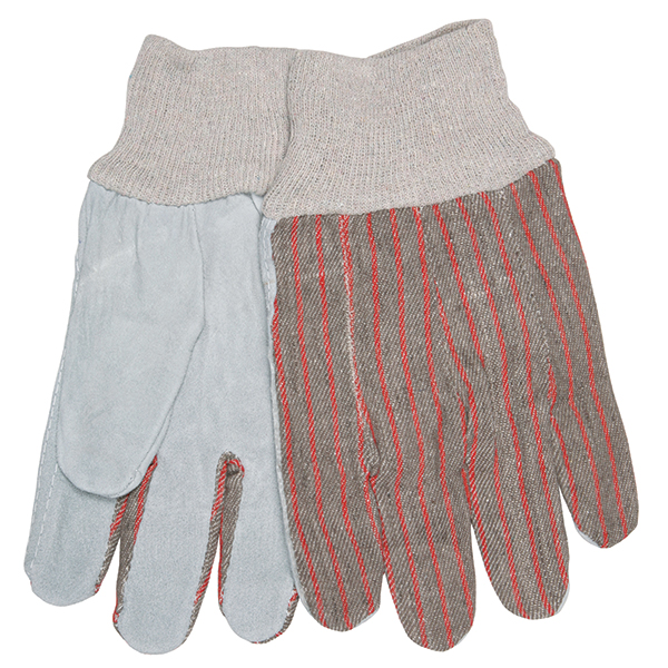 MCR Safety® Industry Standard Leather Palm Gloves, Economy Grade, Clute Pattern, Knit Wrists, Unlined, Large
