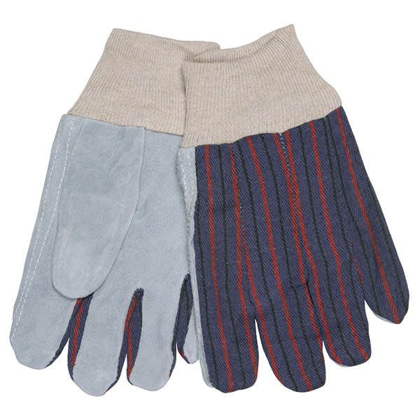 MCR Safety® Industry Standard Leather Palm Gloves, Select Grade, Clute Pattern, Knit Wrists, Fleece-Lined Palms, Large