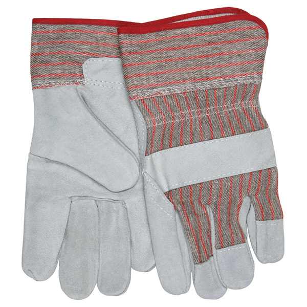"""MCR Safety® Industry Standard Leather Palm Gloves, Industrial Grade, 2 1/2"""" Starched Cuffs, Large"""