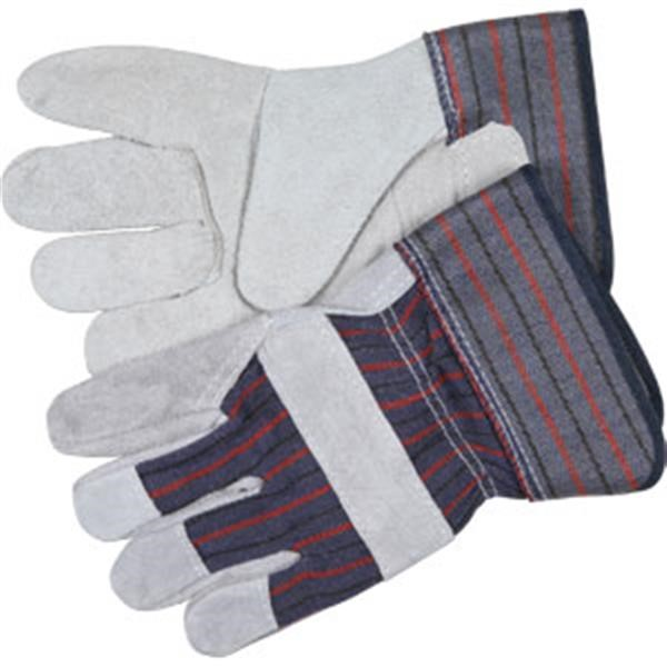 "MCR Safety® Industry Standard Leather Palm Gloves, Economy Grade, 2 1/2"" Rubberized Cuffs, Striped/Gray, Large"
