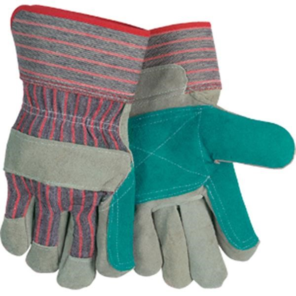 "MCR Safety® Industry Standard Leather Palm Gloves, Industrial Grade, Jointed Double Palms, 2 1/2"" Rubberized Cuffs, Large"