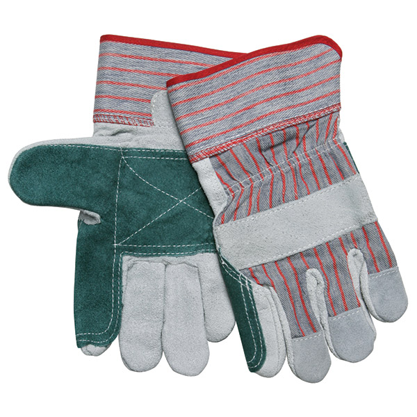 """MCR Safety® Industry Standard Leather Palm Gloves, Industrial Grade, Double Palms, 2 1/2"""" Rubberized Cuffs, X-Large"""