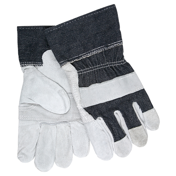 "MCR Safety® Industry Standard Leather Palm Gloves, Economy Grade, Patch Palms, 2 1/2"" Denium Cuffs, Large, Blue/Gray"