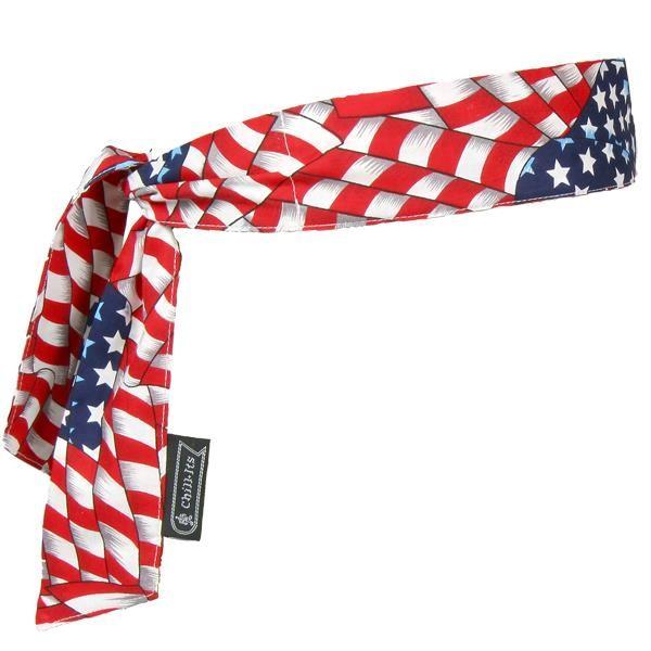 Ergodyne® Chill-Its® 6700 Cooling Bandanas, Tie Closure, Stars & Stripes