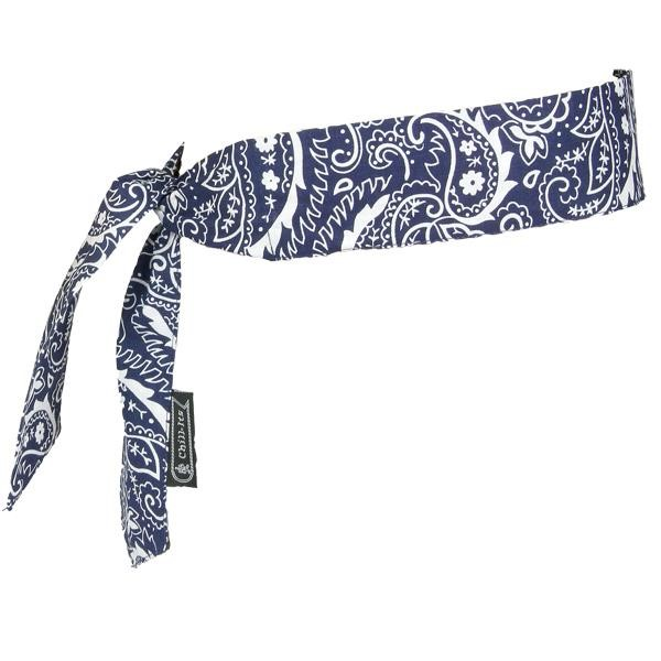 Ergodyne® Chill-Its® 6700 Cooling Bandanas, Tie Closure, Navy Western
