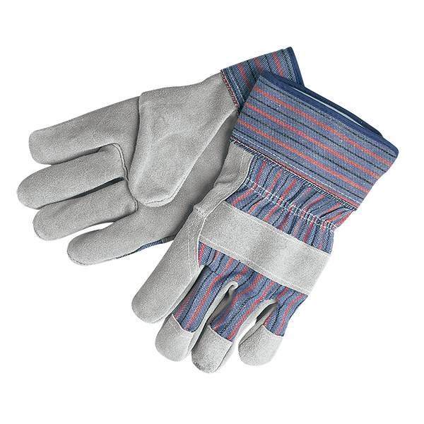 """MCR Safety® Select Shoulder Leather Palm Gloves, """"B"""" Grade, Rubberized Cuffs, Large"""