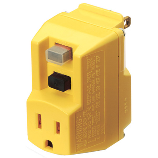 GFCI Single Outlet Plug-In Adapter, 120 VAC