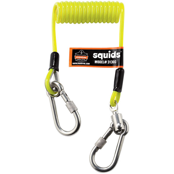 """Ergodyne® Squids® 3130S Coiled Cable Lanyard, 6 1/2"""" (Coiled), 50"""" (Extended), 2 lb, Lime"""