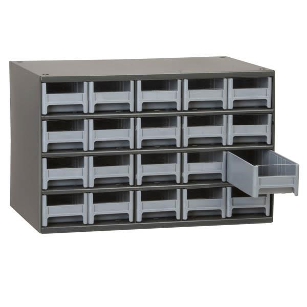 "Akro-Mils® 19-Series Heavy-Duty Steel Storage Cabinet, 20 Drawer (Drawer Dimensions: 2 1/16""H x 3 3/16""W x 10 9/16""D), Gray"