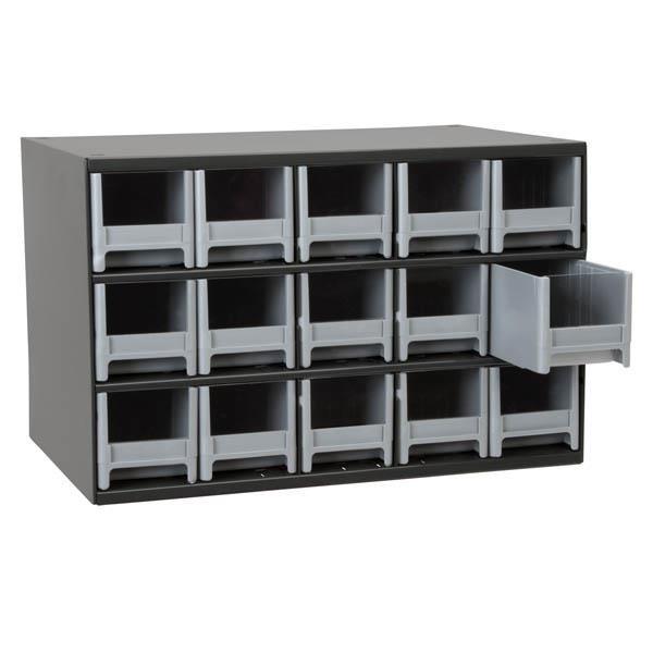 "Akro-Mils® 19-Series Heavy-Duty Steel Storage Cabinet, 15 Drawer (Drawer Dimensions: 3 1/16""H x 3 3/16""W x 10 9/16""D), Gray"