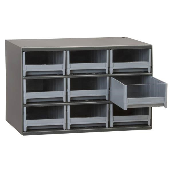"Akro-Mils® 19-Series Heavy-Duty Steel Storage Cabinet, 9 Drawer (Drawer Dimensions: 3 1/16""H x 5 3/16""W x 10 9/16""D), Gray"