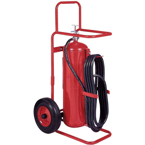 """Badgerâ""""¢ 50 lb Wheeled Stored Pressure Purple K Extinguisher, 25' Hose"""