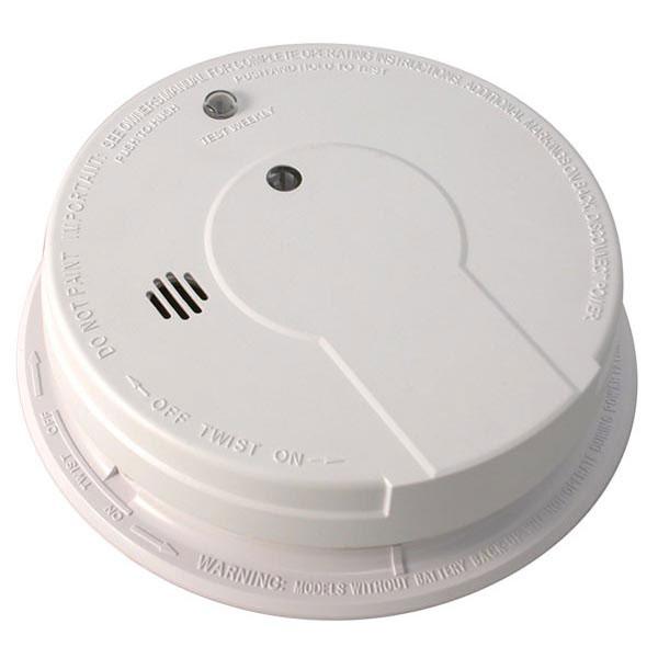 Kidde Interconnectable AC/DC Smoke Alarm w/ Battery Backup, Smart Button, Smart Hush, & Alarm Memory (Ionization)