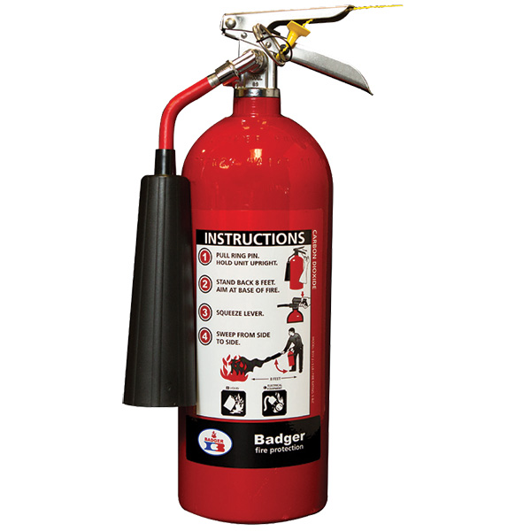 """Badgerâ""""¢ Extra 5 lb CO2 Fire Extinguisher w/ Wall Hook"""