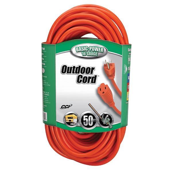 Outdoor Extension Cord, 16/3 ga, 13 A, 50', Orange