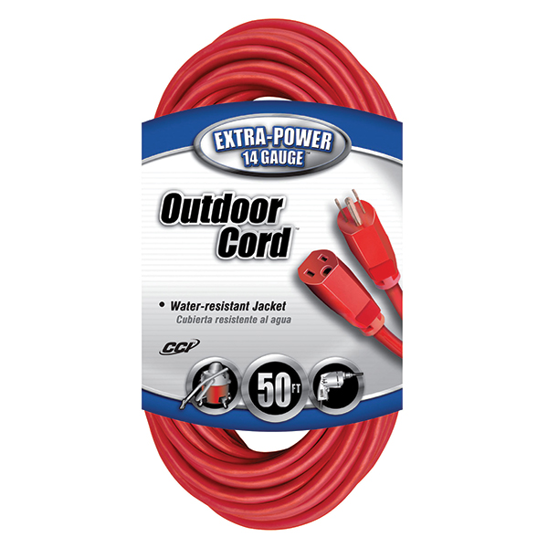 Outdoor Extension Cord, 14/3 ga, 15 A, 50', Red