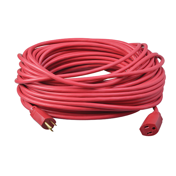 Outdoor Extension Cord, 14/3 ga, 15 A, 100', Red
