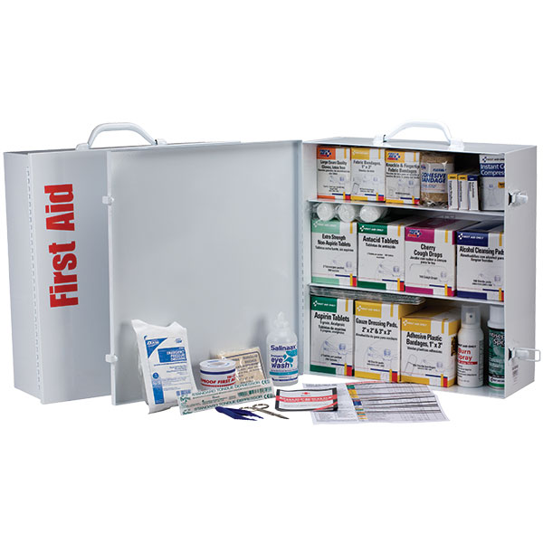 "3-Shelf, 100-Person First Aid Station w/ 12-Pocket Liner, 15""L x 16 1/2""H x 5 1/2""W"