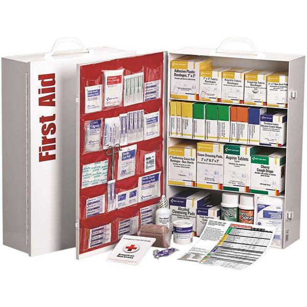 "4-Shelf, 150-Person First Aid Station w/ 20-Pocket Liner, 15""L x 22 3/8""H x 5 5/8""W"