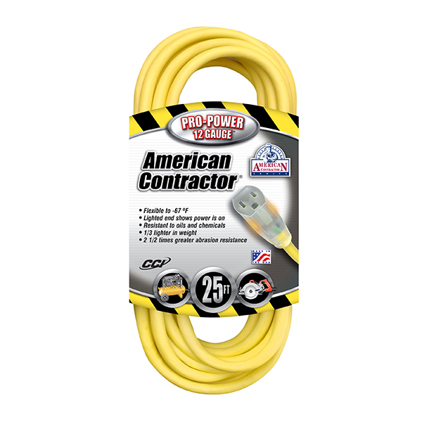 Outdoor Extension Cord w/ Lighted End, 12/3 ga, 15 A, 25'