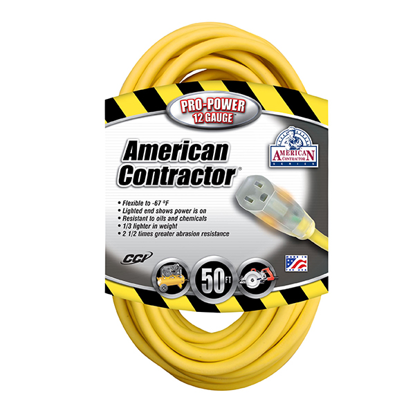 Outdoor Extension Cord w/ Lighted End, 12/3 ga, 15 A, 50'