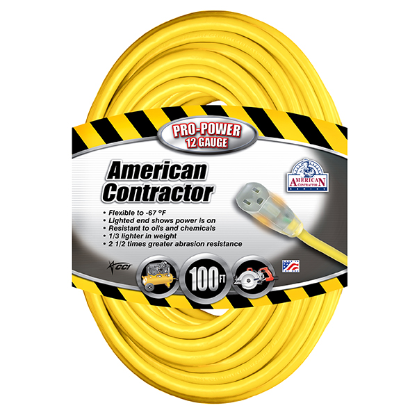 Outdoor Extension Cord w/ Lighted End, 12/3 ga, 15 A, 100'