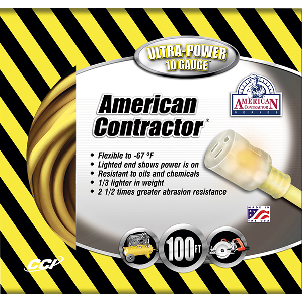 Outdoor Extension Cord w/ Lighted End, 10/3 ga, 15 A, 100'