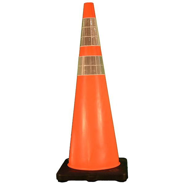 "DW Series Traffic Cone, 36"" w/ 4"" & 6"" Reflective Collars, 10 lb"