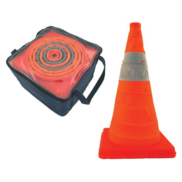 "Pack & Pop Collapsible Cones w/ Light & Feet, 28"", 4/Pkg"