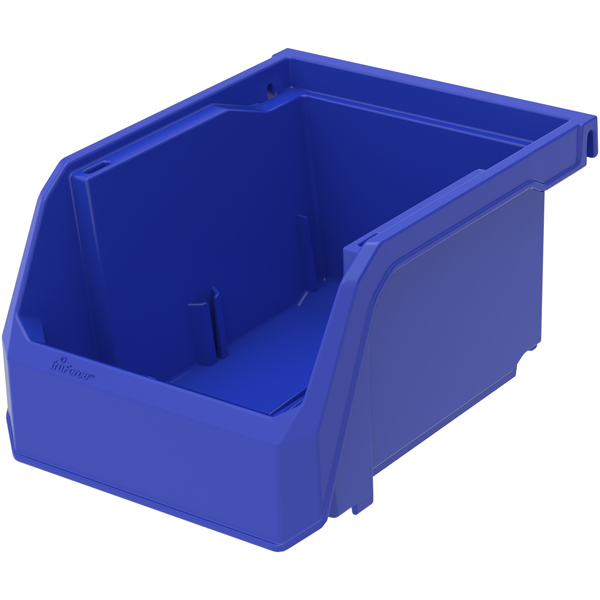 """TruForce Plastic Bin, 5 3/8""""L x 3""""H x 4 1/8""""W, Blue"""