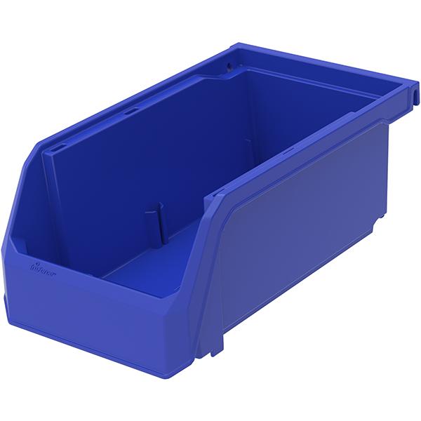"""TruForce Plastic Bin, 7 3/8""""L x 3""""H x 4 1/8""""W, Blue"""