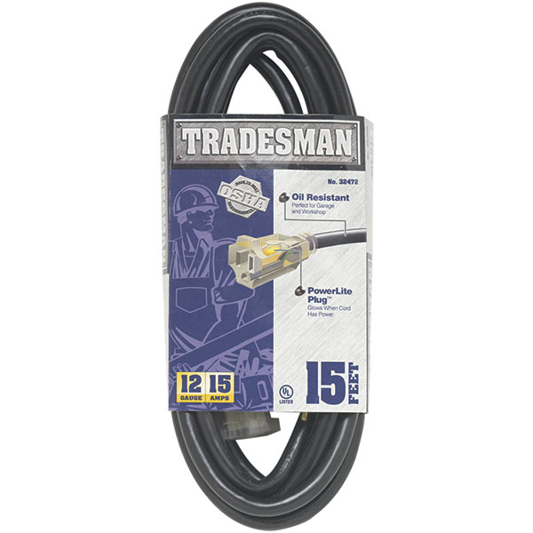 Heavy Duty SJTOW Lighted Extension Cord, 12/3 ga, 15'