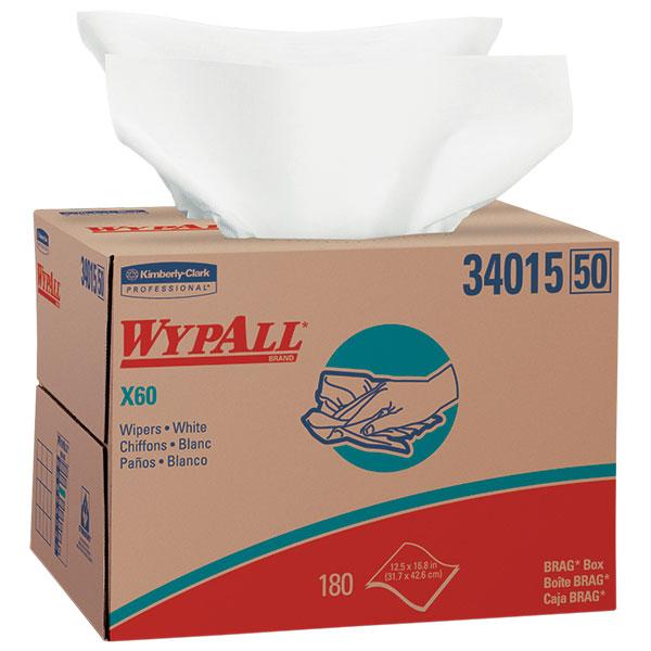 WypAll* X60 Wipers, Brag Box, White, 180/Box