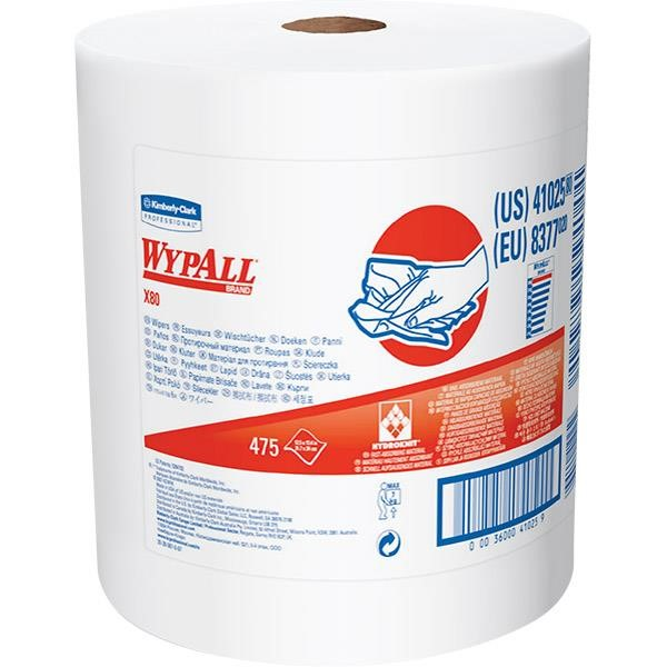 WypAll* X80 Towels, Jumbo Roll, White, 475/Roll