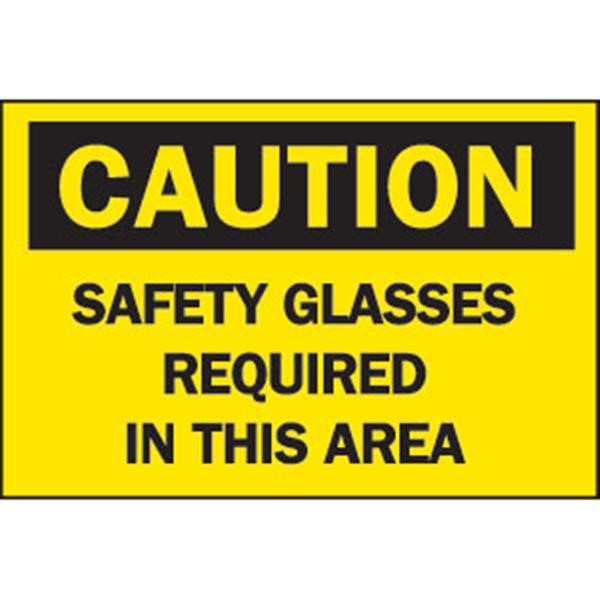 """Brady® """"Caution: Safety Glasses Required In This Area"""" Sign, Aluminum, 10"""" x 14"""""""
