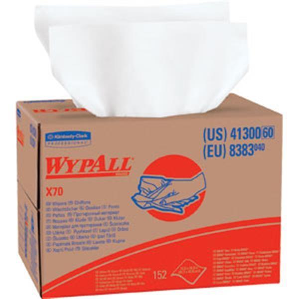 "WypAll* X70 Wipers, Brag Box, 12 1/2"" x 16 13/16"", White, 152/Box"