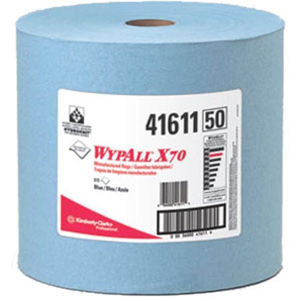 "WypAll* X70 Wipers, Jumbo Roll, 12 1/2"" x 13 3/8"", Blue, 870/Roll"