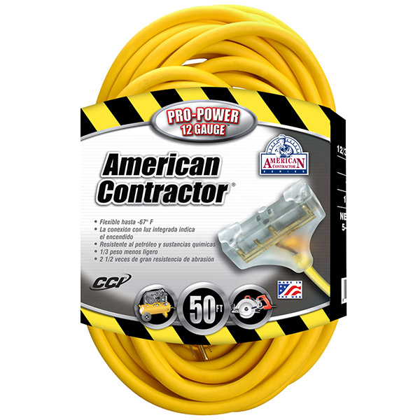 Tri-Source® SJTW 50' Extension Cord w/ Lighted End