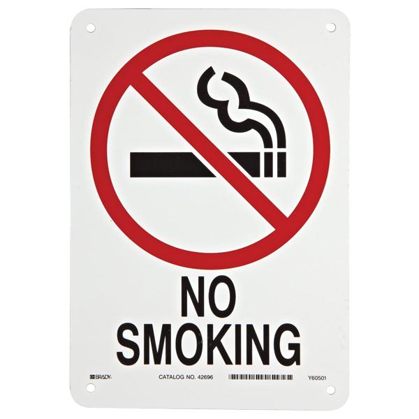 "Brady® ""No Smoking"" Sign, Aluminum, 10"" x 7"""